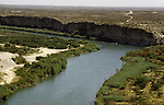 View of Mexico from the United States side of the Rio Grande River in Del Rio, Texas. While the traditional mission of the United States Border Patrol has always been the detection and prevention of the illegal entry of aliens and smuggling of illegal contraband into the United States anywhere other than a designated port-of-entry, the dawn of the age of terrorism within our nation has added a new and high priority mission: to detect and prevent the entry of terrorists and their weapons into the United States. Jim Bryant Photo..&copy;2006. All Rights Reserved.