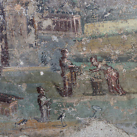 Fresco of women and a temple, from the inner walls of the fountain in the summer triclinium of the garden area of the Casa dell Efebo, or House of the Ephebus, Pompeii, Italy. The fresco is in the Fourth Style of Roman wall painting, 60-79 AD, a complex narrative style. This is a large, sumptuously decorated house probably owned by a rich family, and named after the statue of the Ephebus found here. Pompeii is a Roman town which was destroyed and buried under 4-6 m of volcanic ash in the eruption of Mount Vesuvius in 79 AD. Buildings and artefacts were preserved in the ash and have been excavated and restored. Pompeii is listed as a UNESCO World Heritage Site. Picture by Manuel Cohen