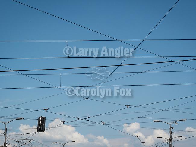Trolly wires, Streets of Belgrade along Alesander Boulivard