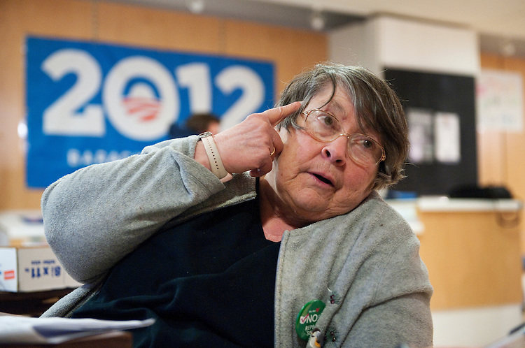 UNITED STATES - FEBRUARY 12:  Judy Bugsley works the phones at President Barack Obama's campaign office in Cleveland, Ohio. (Photo By Tom Williams/CQ Roll Call)