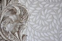 Jacqueline Vine, a handmade mosaic shown in tumbled waterjet-cut Thassos, is part of the Silk Road Collection by Sara Baldwin for New Ravenna. <br />