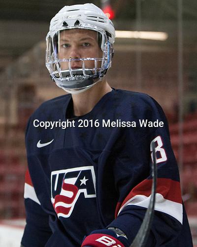 Max Gildon (NTDP - 8) - The Harvard University Crimson defeated the US National Team Development Program's Under-18 team 5-2 on Saturday, October 8, 2016, at the Bright-Landry Hockey Center in Boston, Massachusetts.