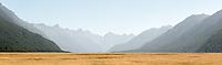 Eglington Valley on late summer day, Fiordland National Park, UNESCO World Heritage Area, Southland, New Zealand, NZ