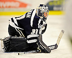 12 February 2011: University of New Hampshire Wildcat goaltender Kayley Herman, a Senior from Weyburn, Saskatchewan, in action on her way to a shutout against the University of Vermont Catamounts at Gutterson Fieldhouse in Burlington, Vermont. The Lady Wildcats defeated the Lady Cats 2-0 to split their Hockey East twin game weekend series. Mandatory Credit: Ed Wolfstein Photo