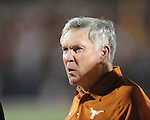 Ole Miss vs. Texas head coach Mack Brown reacts to a penalty at Vaught-Hemingway Stadium in Oxford, Miss. on Saturday, September 15, 2012. Texas won 66-21. Ole Miss falls to 2-1.