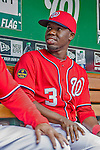 22 September 2013: Washington Nationals outfielder Eury Perez sits in the dugout prior to a game against the Miami Marlins at Nationals Park in Washington, DC. The Marlins defeated the Nationals 4-2 in the first game of their day/night double-header. Mandatory Credit: Ed Wolfstein Photo *** RAW (NEF) Image File Available ***