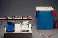 ELECTROLYSIS: COPPER SULFATE &amp; SILVER NITRATE<br /> (2 of 2)<br /> Electrodeposition experiment set up<br /> The battery of the electroplating machine is connected.