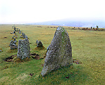 Stone Row. Merrivale, Dartmoor, Devon, England. Celtic Britain published by Orion. This Stone Row is on Long Ash Hill near Merrivale and is unique on Dartmoor  as it comprises of two nearly parallel double rows of stones thirty yards apart.