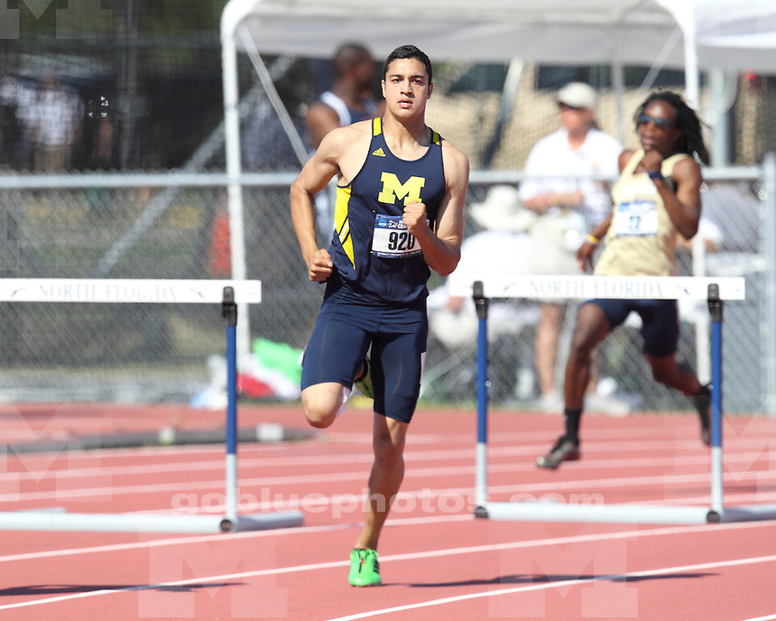 The University of Michigan men compete in the first day of the NCAA East Regional Track and Field Championships in Jacksonville, Fla., on May 24, 2012.