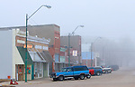 Downtown Exeter, NE is blanketed in a thick layer of icy fog on an early morning in this small rural community.