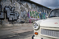 A 'trabi' at the East Side Gallery, the site of the former Berlin Wall that separated East Germany from West Germany.