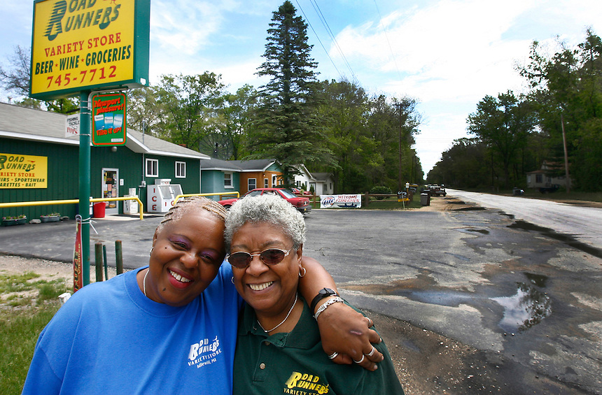 Denise Bellamy, 57, and Freddeie Mitchell, 71, opened Road Runners in the 90's in Idlewild, Mi., Tuesday, June 10, 2008. It is one of the few businesses operating in the town. Idlewild was a resort town for blacks in bad old days when hotels and restaurants denied them service. It had niteclubs with big-name acts like the 4 Tops, Louis Armstrong and George Kirby. When civil rights movement knocked down Jim Crow laws the town declined as blacks could travel more freely. The town is now going through a revival. Chicago Tribune Photo by Charles Osgood  ..OUTSIDE TRIBUNE CO.- NO MAGS,  NO SALES, NO INTERNET, NO TV, CHICAGO OUT.. 00294569A BLACK EDEN
