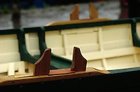 Richmond, Surrey, Specially commissioned boats built for the 150 year anniversary of the Varsity Boat Race to be raced on Boat Race day with selected crew members. The Cutters built at the Richmond Bridge Boat Houses. Rowlocks [Mandatory Credit; Peter Spurrier / Intersport Images].