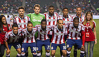 CARSON, CA - April 21, 2012: Chivas USA starting lineup before the Chivas USA vs Philadelphia Union match at the Home Depot Center in Carson, California. Final score Philadelphia Union 1, Chivas USA 0.