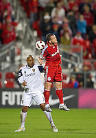 28 September 2010: Real Salt Lake defender/midfielder Robbie Russell #3 and Toronto FC forward Chad Barrett #19 in action during a CONCACAF Champions League game between Real Salt Lake and Toronto FC at BMO Field in Toronto..Final score was 1-1...