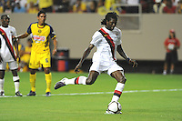 Manchester Cioty forward Emmanuel Adebayor staked his team to a 1-0, first-half lead from the spot. The 2010 Atlanta International Soccer Challenge was held, Wednesday, July 28, at the Georgia Dome, featuring a match between Club America and Manchester City. After regulation time ended 1-1, Manchester City was awarded the victory, winning 4-1, in penalty kicks.