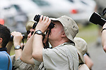 Birdwatchers, Gary Clark, with binoculars, La Selva Biological Reserve, Costa Rica.