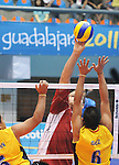 November 18 2011 - Guadalajara, Mexico:  Greg Stewart of Team Canada reaches for a tip while taking on Columbia in the Bronze Medal Game in the Pan American Volleyball Complex at the 2011 Parapan American Games in Guadalajara, Mexico.  Photos: Matthew Murnaghan/Canadian Paralympic Committee