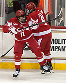Kieffer Bellows (BU - 9), Patrick Curry (BU - 11) - The visiting Boston University Terriers defeated the Boston College Eagles 3-0 on Monday, January 16, 2017, at Kelley Rink in Conte Forum in Chestnut Hill, Massachusetts.
