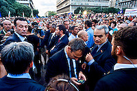 Rome, Italy  September 03, 2015<br /> Demostration anti-mafia, called by the centre-left Democratic Party,  at the church of Don Bosco in Rome to protest the ostentatious funeral of the purported Italian crime boss, Vittorio Casamonica, and to take a public stand against Italy's powerful crime syndicates. Rome's mayor Ignazio Marino  (C), during  the demonstration against the mafia, protected by the security.
