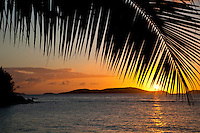 Setting sun at Frank Bay, St. John, USVI