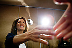 Republican presidential candidate, Rep. Michele Bachmann arrives at a town hall event in Sioux City, Iowa, August 9, 2011.