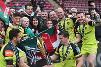 Leicester Tigers with fans and the cup after the game <br /> <br /> Photographer Rachel Holborn/CameraSport<br /> <br /> Anglo-Welsh Cup Final - Exeter Chiefs v Leicester Tigers - Sunday 19th March 2017 - The Stoop - London<br /> <br /> World Copyright &copy; 2017 CameraSport. All rights reserved. 43 Linden Ave. Countesthorpe. Leicester. England. LE8 5PG - Tel: +44 (0) 116 277 4147 - admin@camerasport.com - www.camerasport.com