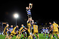 Matt Garvey of Bath Rugby wins the ball at a lineout. Aviva Premiership match, between Bath Rugby and Bristol Rugby on November 18, 2016 at the Recreation Ground in Bath, England. Photo by: Patrick Khachfe / Onside Images