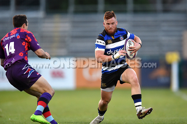 Rory Jennings of Bath United in possession. Remembrance Rugby match, between Bath United and the UK Armed Forces on May 10, 2017 at the Recreation Ground in Bath, England. Photo by: Patrick Khachfe / Onside Images