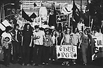 Yippie protesters march in Kansas City, Missouri during the 1976 Republican Convention. An large paper machet effigy of President Gerald Ford and posters blasting Richard Nixon are carried by the participants. 2002©Ed Hille/ Picturedesk.Net.ONE TIME USE ONLY...