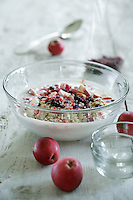 Detail of a bowl of winter muesli made with fresh apple slices and dried cranberries traditionally eaten for Christmas breakfast
