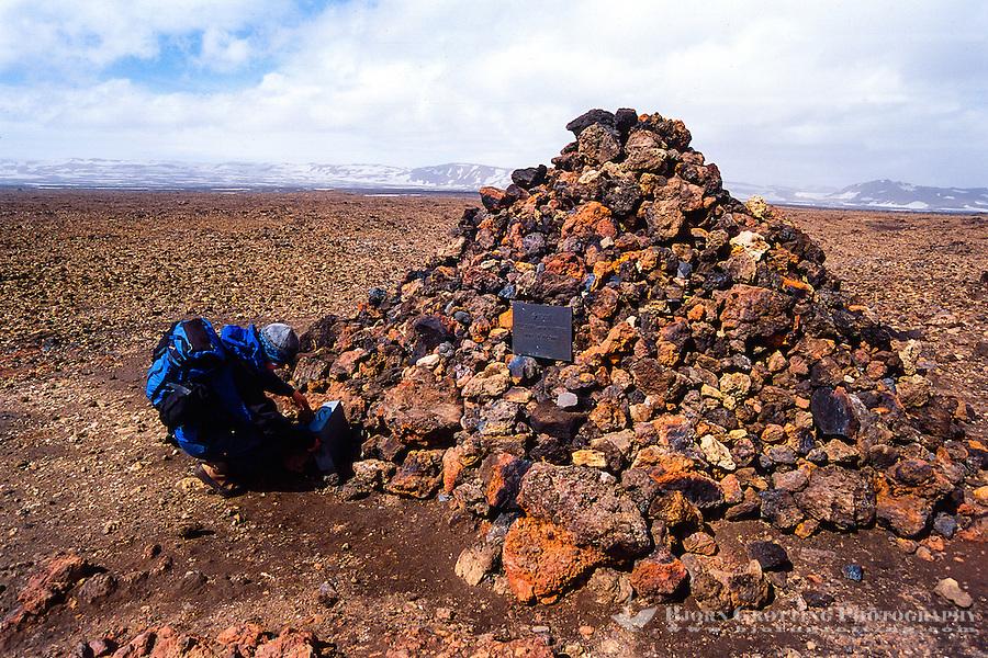 Iceland. Memorial of German scientists Walter von Knebel and Max Rudloff at Askja.