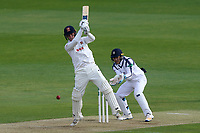 Tom Westley hits four runs for Essex as Lewis McManus looks on from behind the stumps during Essex CCC vs Hampshire CCC, Specsavers County Championship Division 1 Cricket at The Cloudfm County Ground on 19th May 2017