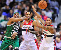 Paul Pierce of the Celtics fires off against the Wizard defenders. Boston defeated Washington 89-86 at the Verizon Center in Washington, D.C. on Saturday, November 3, 2012.  Alan P. Santos/DC Sports Box