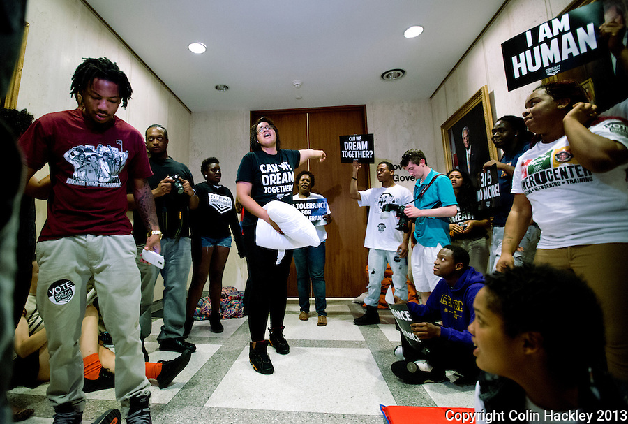 TALLAHASSEE, FLA. 07/18/13-TRAYVONOCCUPY0718013CH-Protestors seeking justice for Trayvon Martin chant during the occupation of the Capitol, Thursday in Tallahassee.<br /> <br /> COLIN HACKLEY PHOTO