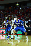 13 January 2012:  John Wilkins gets blocked out by Josh Jones and Doug McDermott during an NCAA Missouri Valley Conference mens basketball game where the Creighton Bluejays topped the Illinois State Redbirds 87-78 in Redbird Arena, Normal IL