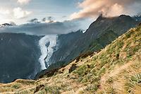 Dawn over Franz Josef Glacier,  Westland National Park, West Coast, UNESCO World Heritage Area, South Westland, New Zealand, NZ