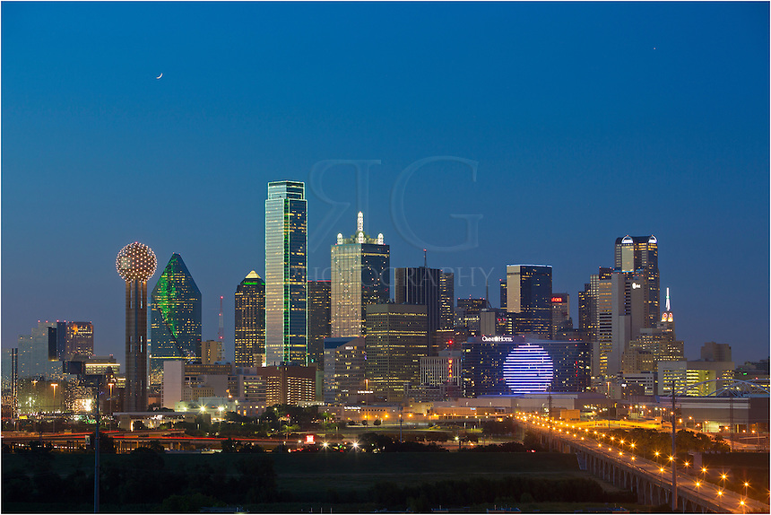 The Dallas Skyline at night is an architectural wonder. The iconic Reunion Tower is one of the main attractions, but also included in the Dallas cityscape are the Bank of America, the ever changing Omni Hotel, and the CoAmerica Tower, among others. This Dallas Skyline image was captured about 20 minutes after sunset from the southwest portion of the city.
