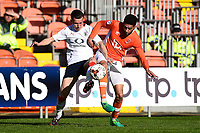 Luton Town's Dan Potts vies for possession with Blackpool's Kelvin Mellor<br /> <br /> Photographer Richard Martin-Roberts/CameraSport<br /> <br /> The EFL Sky Bet League Two Play-Off Semi Final First Leg - Blackpool v Luton Town - Sunday May 14th 2017 - Bloomfield Road - Blackpool<br /> <br /> World Copyright &copy; 2017 CameraSport. All rights reserved. 43 Linden Ave. Countesthorpe. Leicester. England. LE8 5PG - Tel: +44 (0) 116 277 4147 - admin@camerasport.com - www.camerasport.com