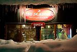Photo shows the exterior of Ezo Seafoods restaurant in Hirafu in the Niseko ski region of Hokkaido, Japan on Feb. 6 2010.