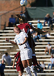 North Carolina's Whitney Engen (9) and Texas A&M's Linda Pierson (behind) challenge for a header on Saturday, November 25th, 2006 at Fetzer Field in Chapel Hill, North Carolina. The University of North Carolina Tarheels defeated the Texas A&M Aggies 3-2 in an NCAA Division I Women's Soccer Championship quarterfinal game.
