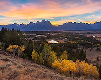 Grand Teton National Park, WY: Colorful sunset over the Teton Range overlooking the Snake River Valley