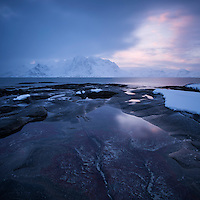 Winter coastline near Vareid, Flakstadøy, Lofoten Islands, Norway