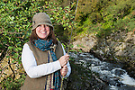 Charlotte beside the North Esk with rod