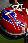 21 October 2007: Buffalo Bills quarterback Helmet is held in readiness during a game against the Baltimore Ravens at Ralph Wilson Stadium in Orchard Park, NY. The Bills defeated the Ravens 19-14 in front of 70,727 fans marking their second win of the 2007 season...Mandatory Photo Credit: Ed Wolfstein Photo