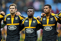 Elliot Daly, Christian Wade and Charles Piutau of Wasps look on prior to the match. Aviva Premiership match, between Wasps and Gloucester Rugby on November 8, 2015 at the Ricoh Arena in Coventry, England. Photo by: Patrick Khachfe / Onside Images