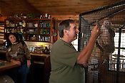 Dave and Sandy Viguers live with monkeys at their home outside of Lampasas, Texas.  February 22, 2009.