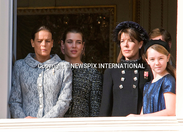 """PRINCESS CAROLINE WITH CHILDREN PRINCESSES CHARLOTTE AND ALEXANDRA, PRINCES ANDREA AND PIERRE AND SISTER PRINCESS STEPHANIE.watched the National Day performances from the balcony of the Palais, Monte Carlo, Monaco_19/11/2011.Mandatory Credit Photos: ©Francis Dias/NEWSPIX INTERNATIONAL..**ALL FEES PAYABLE TO: """"NEWSPIX INTERNATIONAL""""**..PHOTO CREDIT MANDATORY!!: NEWSPIX INTERNATIONAL(Failure to credit will incur a surcharge of 100% of reproduction fees)..IMMEDIATE CONFIRMATION OF USAGE REQUIRED:.Newspix International, 31 Chinnery Hill, Bishop's Stortford, ENGLAND CM23 3PS.Tel:+441279 324672  ; Fax: +441279656877.Mobile:  0777568 1153.e-mail: info@newspixinternational.co.uk"""