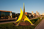 USA, Indiana, Indianapolis, public outdoor sculptures in downtown area.