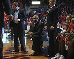 Ole Miss assistant coach Owen Miller, Ole Miss assistant coach Torrey Ward, and Ole Miss assistant coach Michael White at the C.M. &quot;Tad&quot; Smith Coliseum in Oxford, Miss. on Tuesday, February 1, 2011. Ole Miss won 71-69.